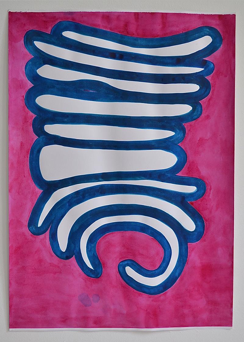 Mattress Column 2 // Patjakolumni 2, 2017, aquarelle on paper, 60 x 42 cm