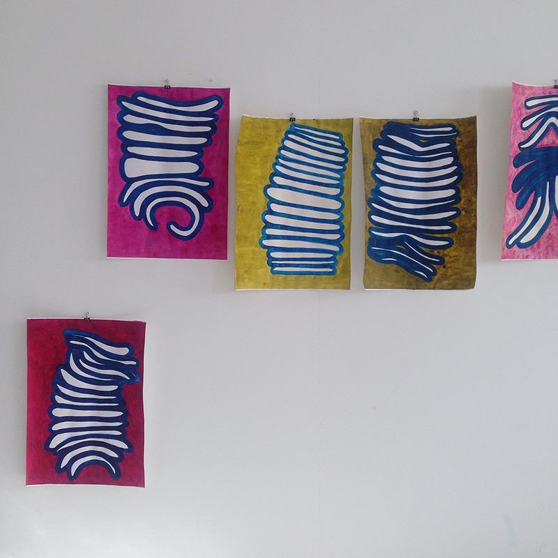 Matress Columns 1 // Patjakolumneja 2017, aquarelle on paper, à 60 x 42 cm