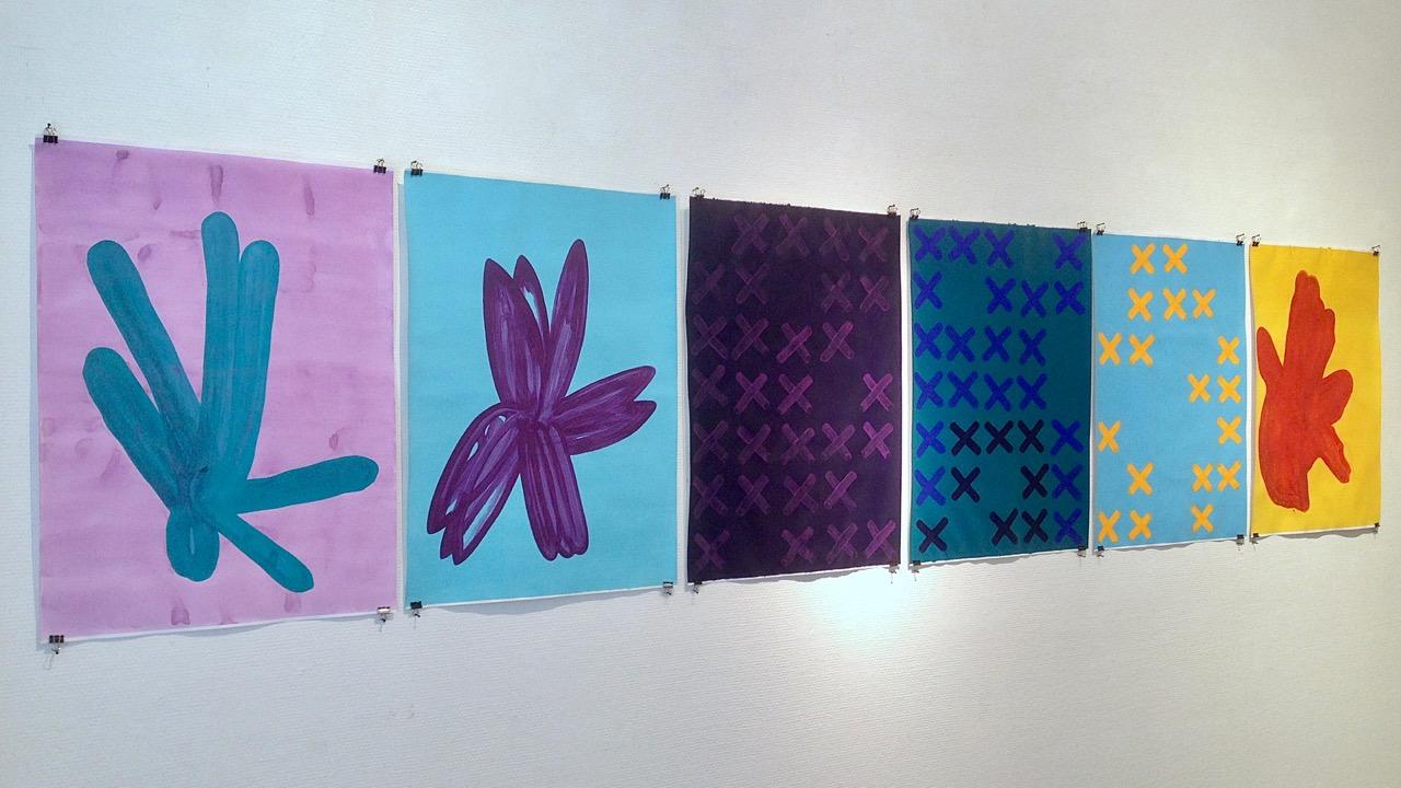 Exhibition view: series of paintings in Gallery Katariina's Studio, August 2018 // Näyttelynäkymä: sarja maalauksia Galleria Katariinan Studiossa elokuussa 2018