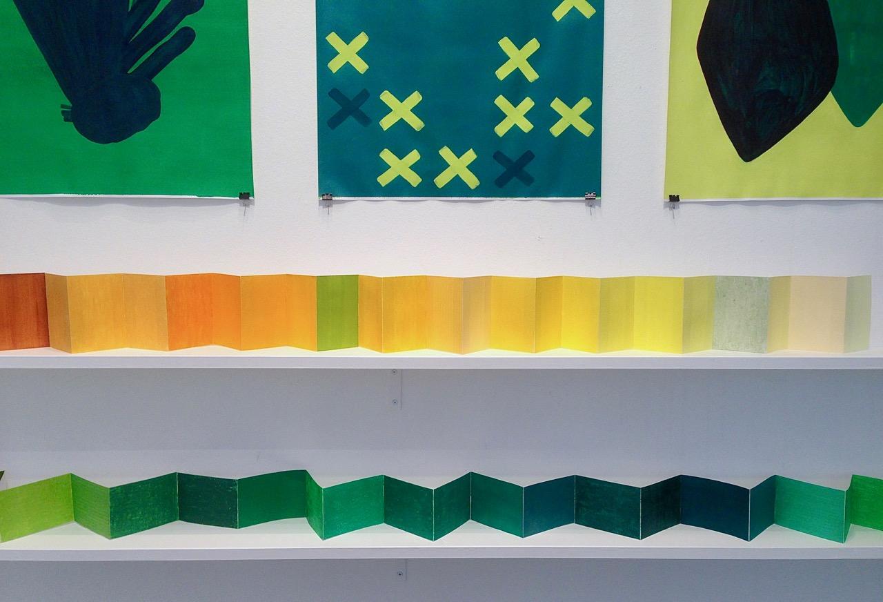 On the shelves: Light inside a Tent & Colour of a Sleeping Bag // Hyllyillä: Sisäteltan valo & Makuupussin väri, 2018, crayons, pastels, acrylic and marker pen on paper