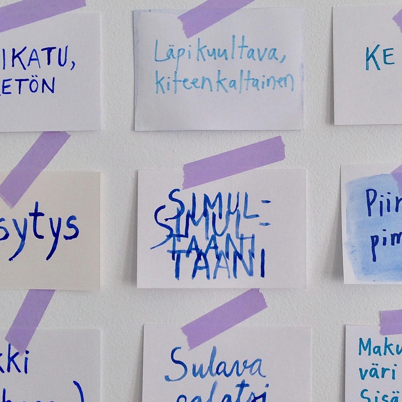 On the studiowall: words and names – sketches, drawings, paintings // Työhuoneen seinällä: sanat ja nimet – luonnoksia, piirustuksia, maalauksia, 2018