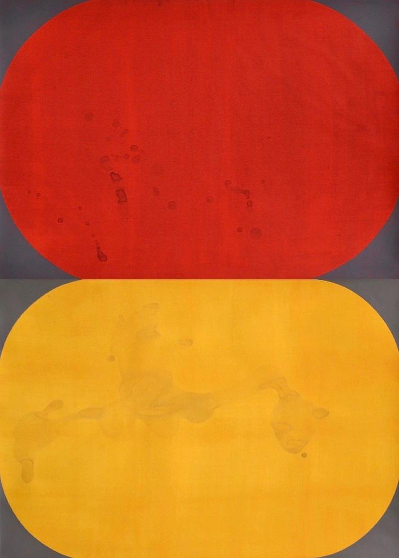 """Two paintings from the series """"I carried this picture"""" // Kaksi maalausta sarjasta """"Kannoin tämän kuvan"""", 2019, acrylic on paper, à 42 x 60 cm"""