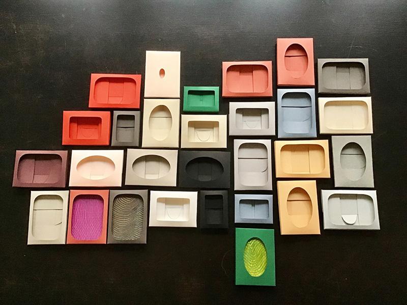 "Paperworks from the series ""I carried this picture"" // Paperiteoksia sarjasta ""Kannoin tämän kuvan"", 2019, carton, cutting, folding, drawing; app. 8 x 11 cm each"