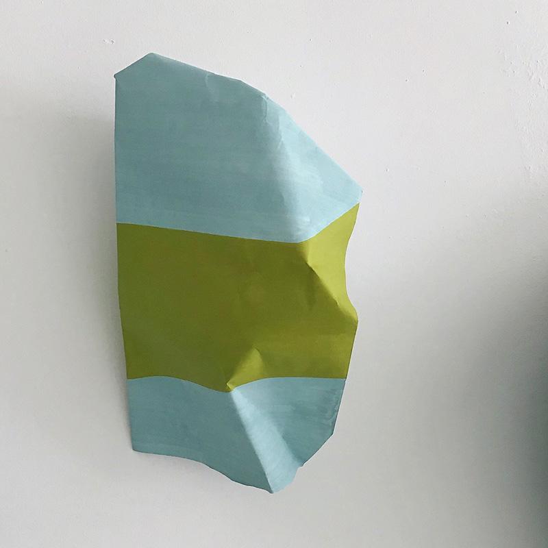 New Island, painting from The Blue Wader Case process // Uusi saari, maalaus Sinisen kahlaajan tapaus -prosessista, 2019, acrylic and folding on paper