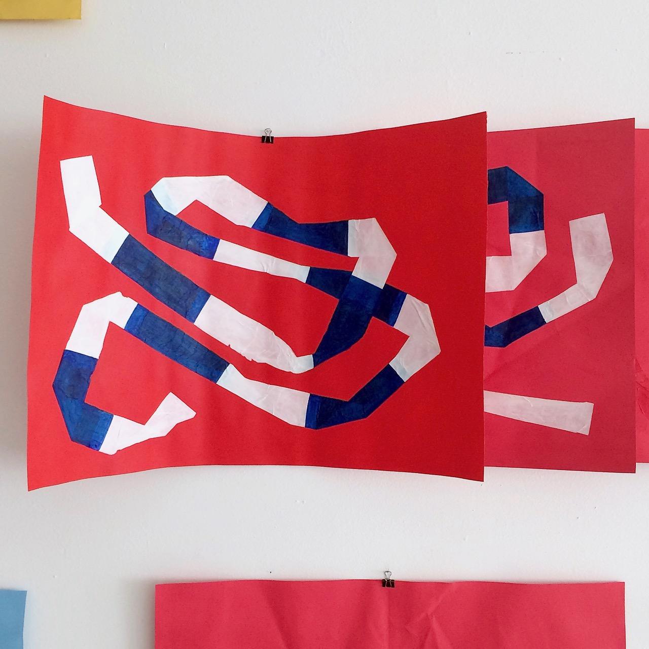 Parts of Isolation Series on the studio wall // Eristesarjaa työhuoneen seinällä, 2020
