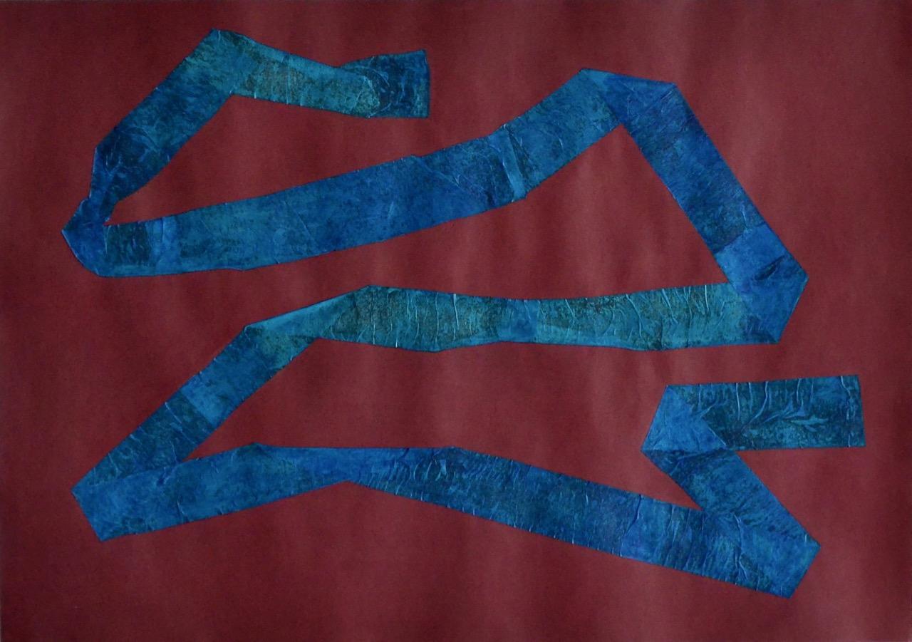 Isolation Series: Night Tape // Eristesarja: Yön nauha, 2020, chalk paint, tissue paper and acrylic on paper, 42 x 60 cm