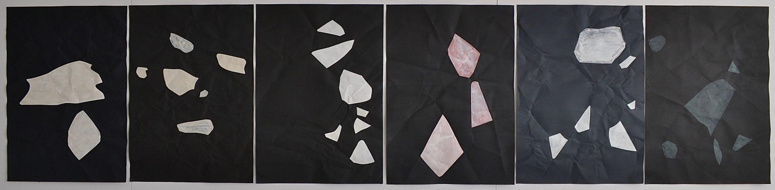 The Other Side of The Darkness, series of double-sided paintings, pages 1, 3, 5, 7, 9 and 11 // Pimeän toisella puolella on pimeä, sarja kaksipuolisia maalauksia, sivut 1, 3, 5, 7, 9 ja 11; 2020, chalk paint and acrylic on paper, à 60 x 42 cm
