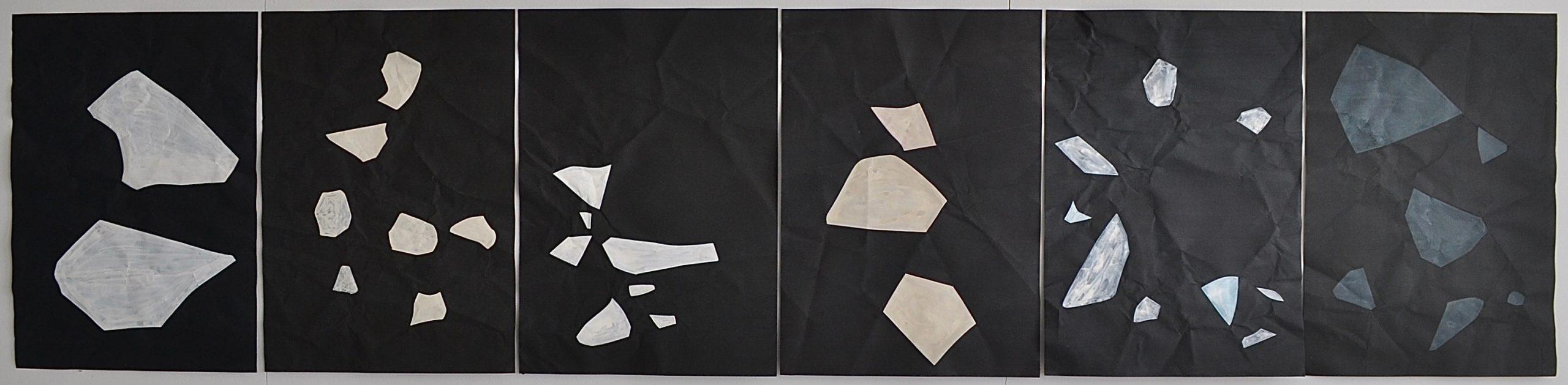 The Other Side of The Darkness, series of double-sided paintings, pages 2, 4, 6, 8, 10 and 12 // Pimeän toisella puolella on pimeä, sarja kaksipuolisia maalauksia, sivut 2, 4, 6, 8, 10 ja 12; 2020, chalk paint and acrylic on paper, à 60 x 42 cm
