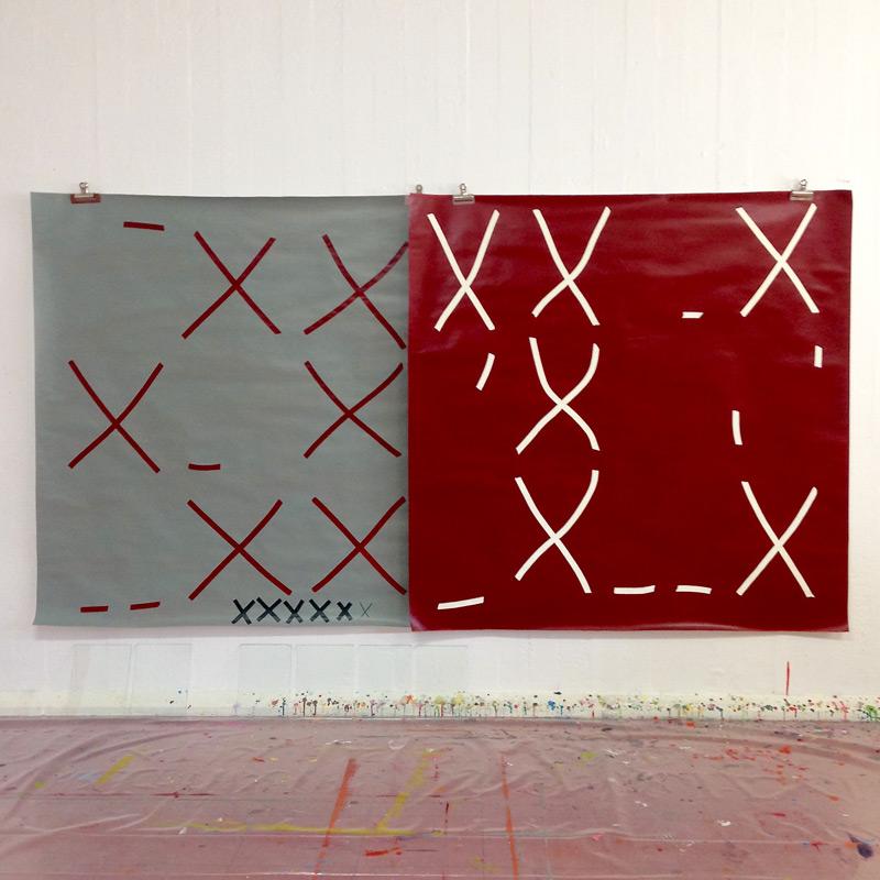 Paintings for a Cellar // Maalauksia kellarille, 2016, acrylic on paper, à 150 x 150 cm