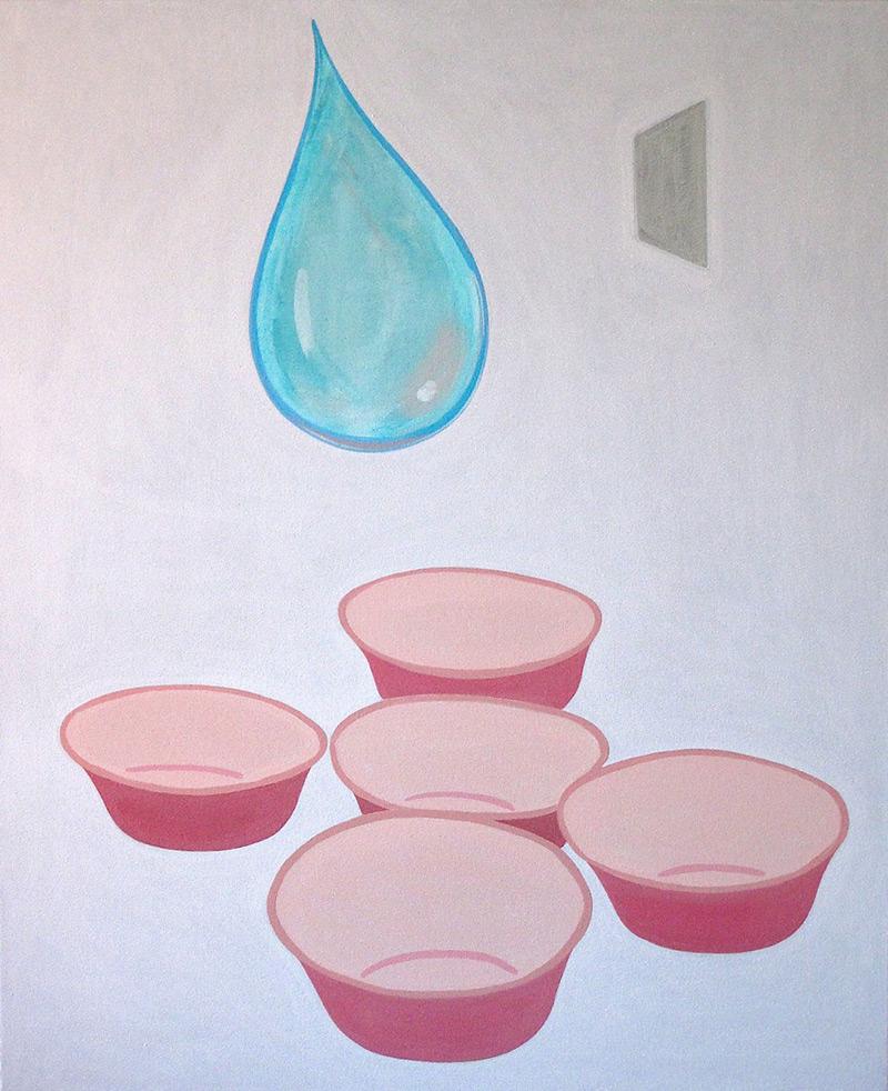 Wrong Dream // Väärä uni, 2009, acrylic and metal leaf on canvas, 100 x 82 cm