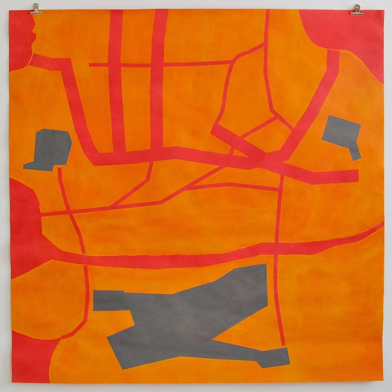 Areas // Alueet, 2021, chalk paint and acrylic on paper, 150 x 150 cm
