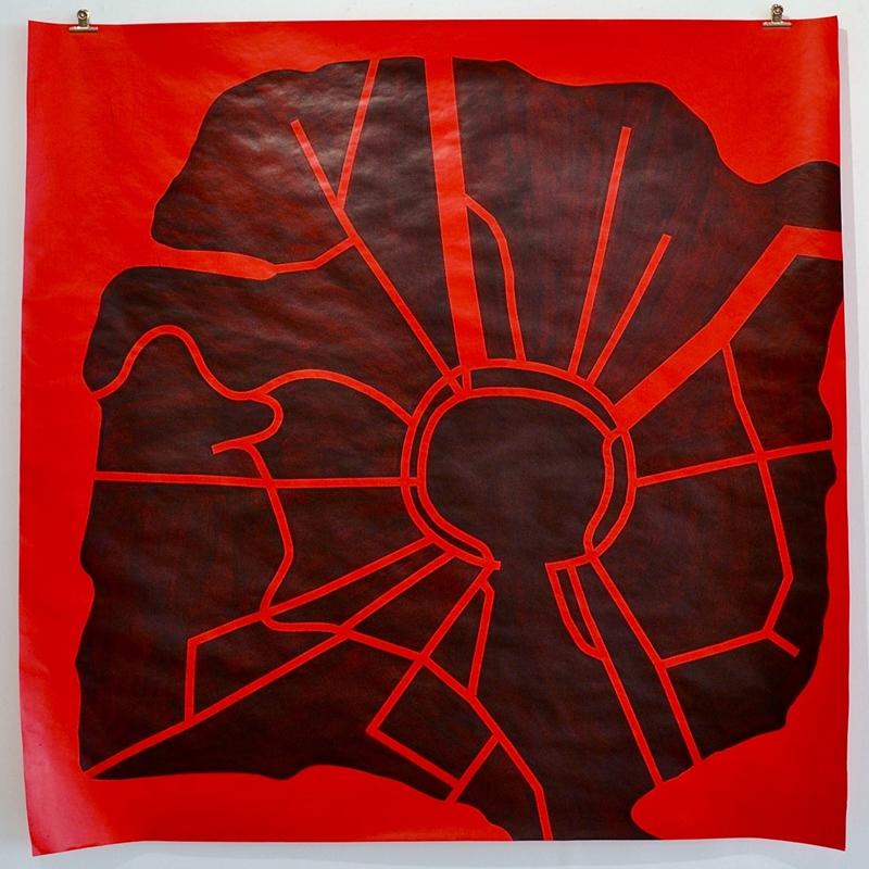 Black Sun City, 2021, acrylic on paper, 150 x 150 cm