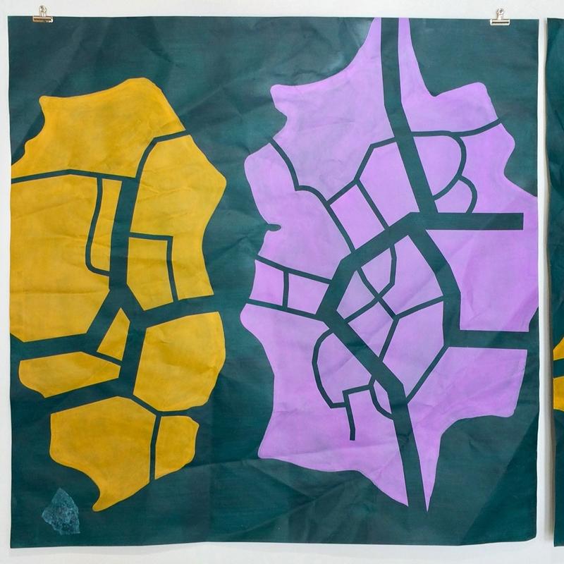 Tissue 2 // Kudos 2, 2020, acrylic on paper, 150 x 150 cm