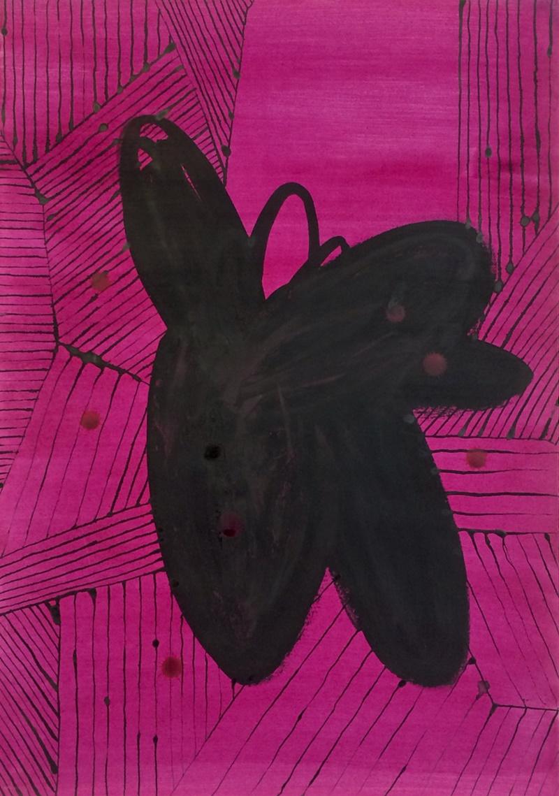 From series Flowers and Stripes // Sarjasta Kukkia ja raitoja, 2021, natural colour and ink on paper, 60 x 42 cm