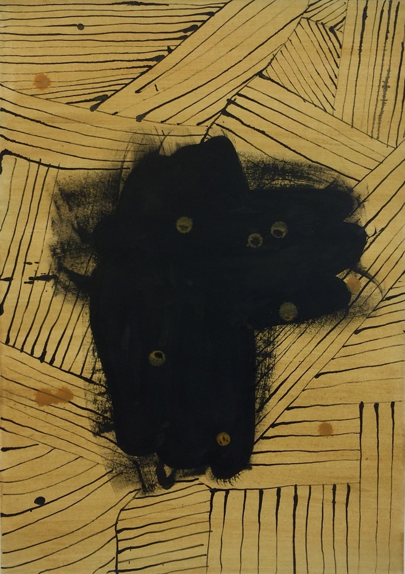 Black Grain // Mustajyvä, 2021, plant colour and ink on paper, 60 x 42 cm