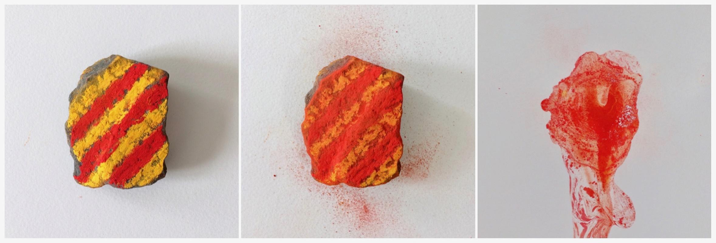 Experiments: stone, color pigments, water // Kokeiluja: kivi, väripigmentit, vesi, 2021